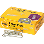 MARBIG PAPER CLIP ROUND LARGE 33MM BOX 100