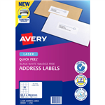 AVERY 959002 L7161 QUICK PEEL ADDRESS LABEL WITH SURE FEED LASER 18UP WHITE PACK 100
