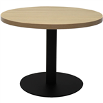 RAPIDLINE CIRCULAR COFFEE TABLE 600 X 425MM NATURAL OAK TABLE TOP  BLACK POWDER COAT BASE