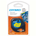 DYMO 91332 LETRATAG PLASTIC LABELLING TAPE 12MM BLACK ON YELLOW