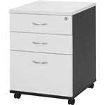 OXLEY MOBILE PEDESTAL 2 DRAWER 1 FILE WHITEIRONSTONE